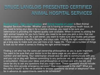 Bruce Langlois Presented Certified Animal Hospital Services