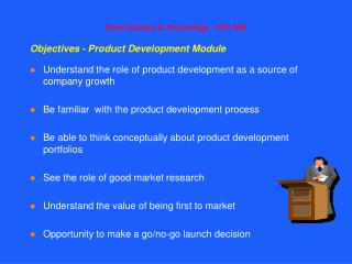 Objectives - Product Development Module