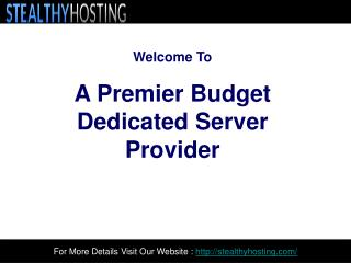 Powerful Dedicated Servers- Stealthy Hosting