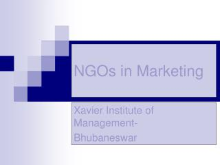 NGOs in Marketing