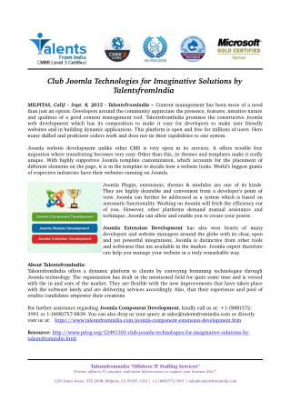 Club Joomla Technologies for Imaginative Solutions by TalentsfromIndia
