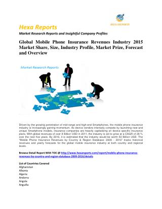 Mobile phone insurance revenues market strategies and key trends, share and Forecast 2011 - 2020