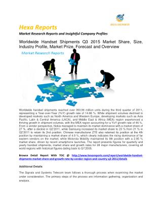 Worldwide handset shipments market - opportunity and Forecast 2011 to 2020