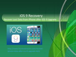 iOS 9 Recovery - Recover Data from iPhone after iOS 9 Upgrade