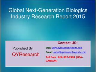 Global Next-Generation Biologics Market 2015 Industry Research, Growth, Overview, Analysis, Share and Trends