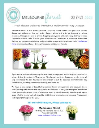 Fresh Flowers Delivered throughout Melbourne for Any Occasion