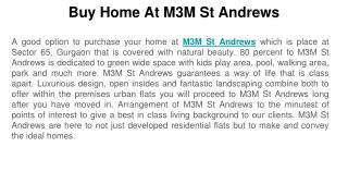 Buy Home At M3M St Andrews