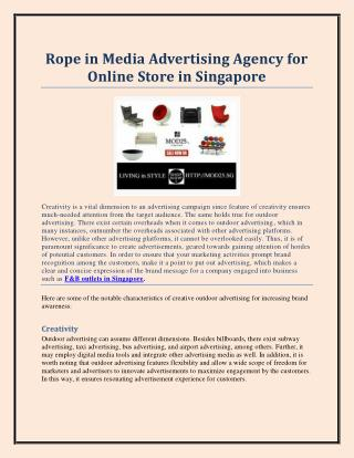 Rope in Media Advertising Agency for Online Store in Singapore