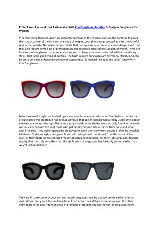 Protect Your Eyes and Look Fashionable With Cool Sunglasses for Men, Women & Kids