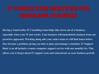 IT Consulting Services for Brisbane Business
