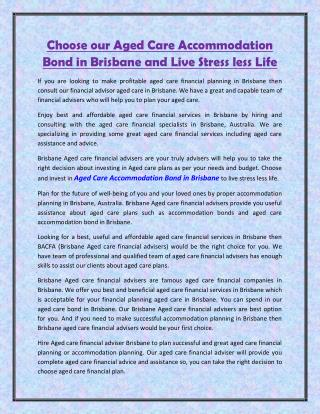 Choose our Aged Care Accommodation Bond in Brisbane and Live Stress less Life