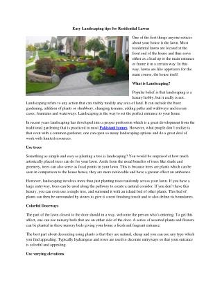 Easy Landscaping tips for Residential Lawns