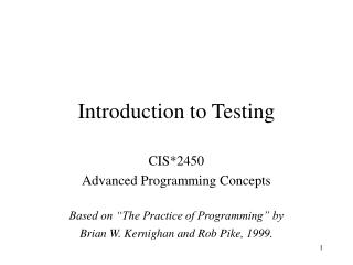 Introduction to Testing