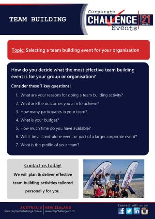 Selecting a team building event for your organisation