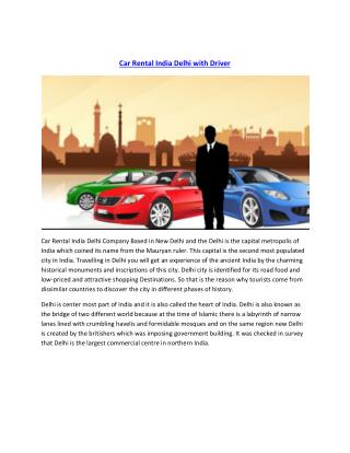 Car Rental India Delhi with Driver