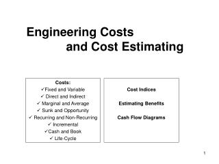 Engineering Costs and Cost Estimating
