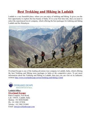 Best Trekking and Hiking in Ladakh