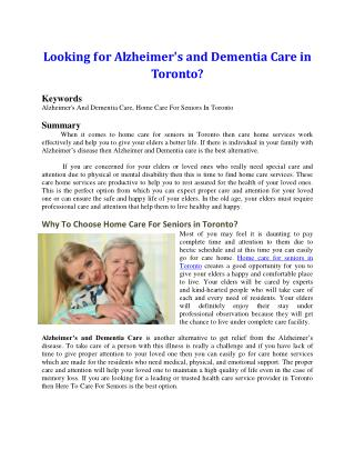 Looking for Alzheimer's and Dementia Care in Toronto?