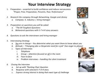 Your Interview Strategy