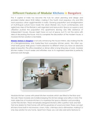 Different Features of Modular Kitchens in Bangalore