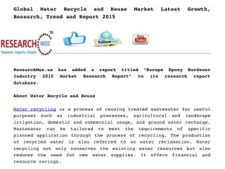 Global Water Recycle and Reuse Market Latest Growth, Research, Trend and Report 2015