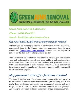 Get rid of unused stuff with commercial junk removal