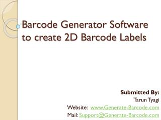 Barcode Generator Software to create 2D Barcode Labels