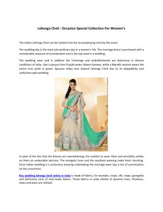 Lehenga Choli Occasion Special Collection For Women's