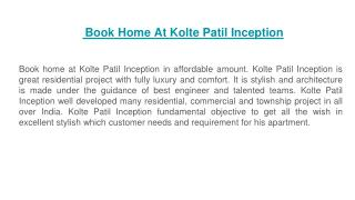 Book Home At Kolte Patil Inception