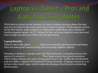 Laptop vs. Tablet – Pros and Cons for Taking Notes