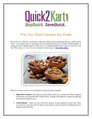 Why You Must Consume Dry Fruits