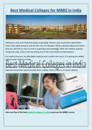 Best Medical Colleges for MBBS Courses In India