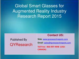 Global Smart Glasses for Augmented Reality Market 2015 Industry Shares, Forecasts, Analysis, Applications, Trends, Devel