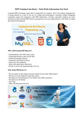Best PHP training with CMS training in Indore