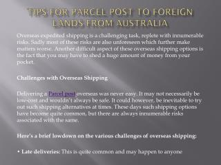 Tips for Parcel post to foreign lands from Australia
