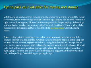 Tips to pack your valuables for moving and storage