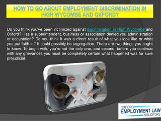 How to go about employment discrimination in High Wycombe and Oxford?