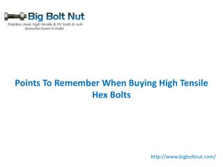 Points To Remember When Buying High Tensile Hex Bolts