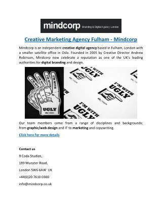 Creative Marketing Agency Fulham - Mindcorp