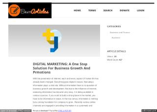 DIGITAL MARKETING: A One Stop Solution For Business Growth And Prmotions
