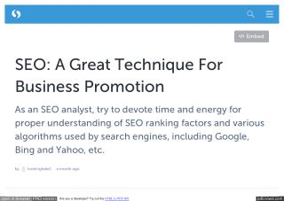 SEO: A Great Technique For Business Promotion