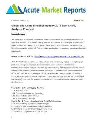 Global and China B Phenol Industry 2015 Size, Share, Analysis, Forecast