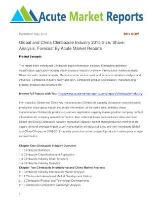 Global and China Climbazole Industry 2015 Size, Share, Analysis, Forecast By Acute Market Reports