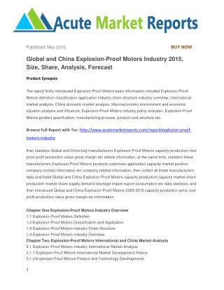 Global and China Explosion-Proof Motors Industry 2015, Size, Share, Analysis, Forecast