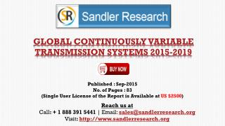 World Continuously Variable Transmission Systems Market to Grow at 7.39% CAGR to 2019 Says a New Research Report