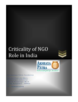 Criticality of NGO Role in India