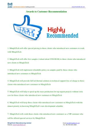 Awards to Customer Recommendation