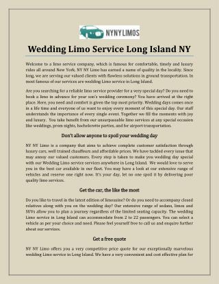 Wedding Limo Service Long Island NY