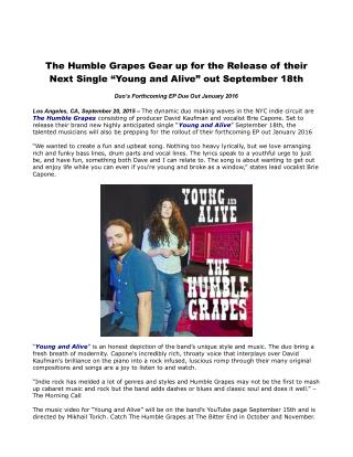 "The Humble Grapes Gear up for the Release of their Next Single ""Young and Alive"" out September 18th"