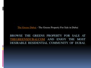 The Greens Properties for Sale - thegreensdubai.com. 1 Bedroom Semi Furnished Apartment in Al Samar 2 The Greens – The G